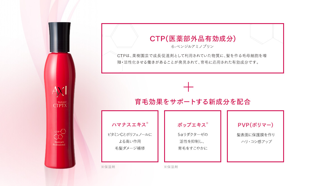 【CTP(医薬部外品有効成分) 6-ベンジルアミノプリン】CTPは、果樹園芸で成長促進剤として利用されていた物質に、髪を作る毛母細胞を増殖・活性化させる働きがあることが発見されて、育毛に応用された有効成分です。 + 育毛効果をサポートする新成分を配合 【ハマナスエキス※】ビタミンCとポリフェノールによる高い作用 毛髪ダメージ補修/【ポップエキス※】5αリダクターゼの活性を抑制し、育毛をすこやかに/【PVP(ポリマー)】髪表面に保護膜を作りハリ・コシ感アップ ※保湿剤